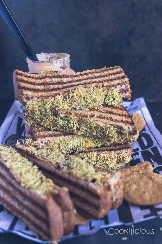 Sev Puri Grill SandwichAppetizers & Snacks Power Breakfasts