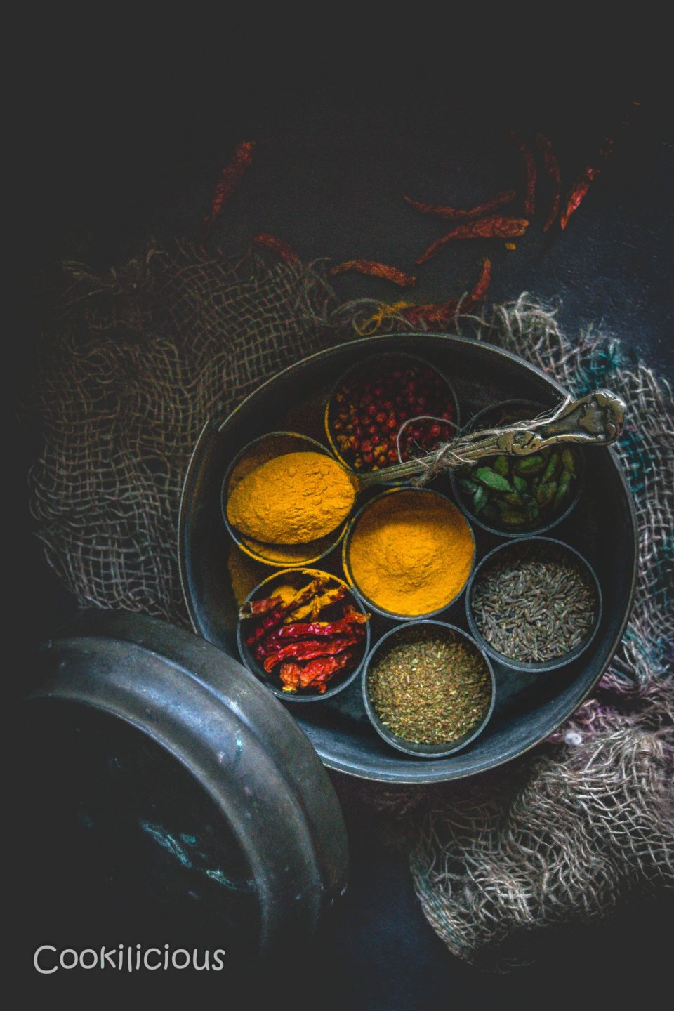 top angle shot of a masala box with compartments filled with different spices and one of them is filled with turmeric powder
