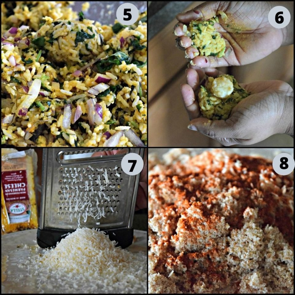4 image colage showing the process of making Cheesy Rice Vegan Kebabs