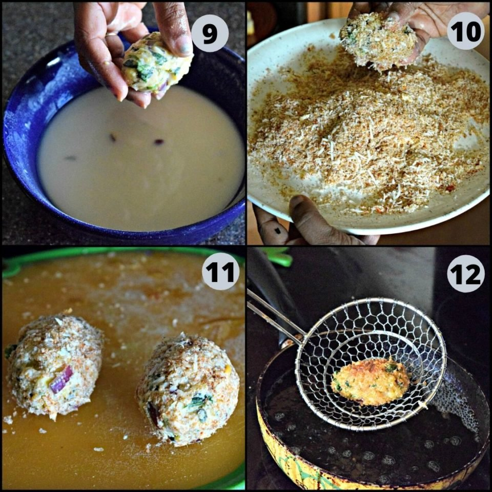 4 image collage showing how to make Cheesy Rice Vegan Kebabs