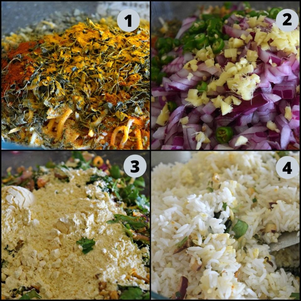 4 image collage showing the steps to make Cheesy Rice Vegan Kebabs