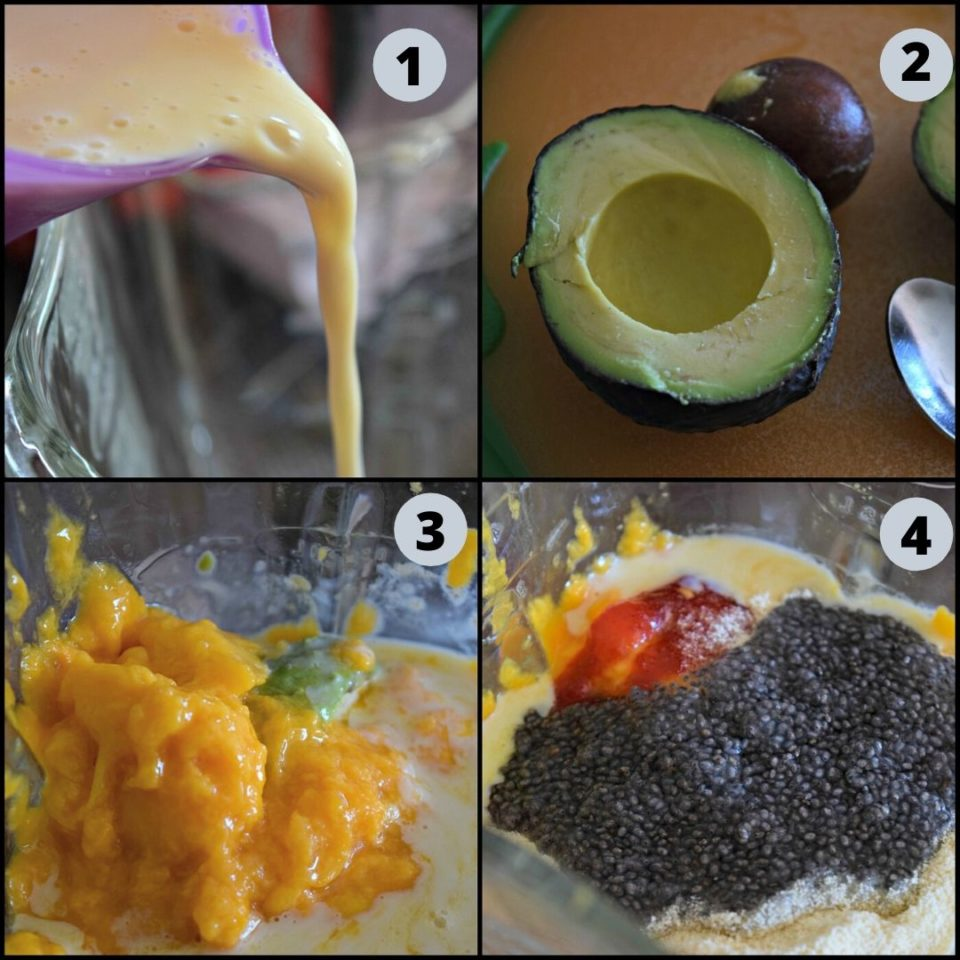 4 image collage showing how to make Vegan Mango Avocado Smoothie