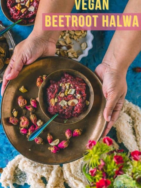 a set of hands serving a bowl of Beetroot Halwa and text at the top