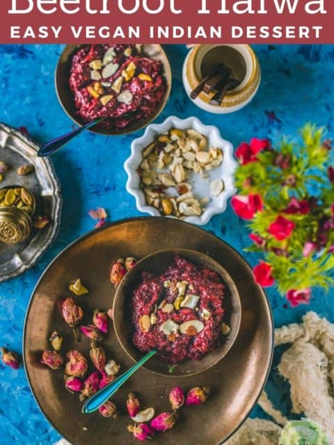 one bowl of Beetroot Halwa served in a round plate with rose buds around it while the other bowl is next to it and text at the top