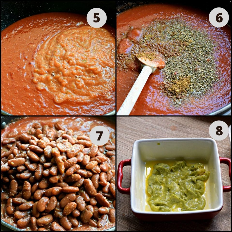 4 image collage showing how to make Vegan Enchilada With Beans