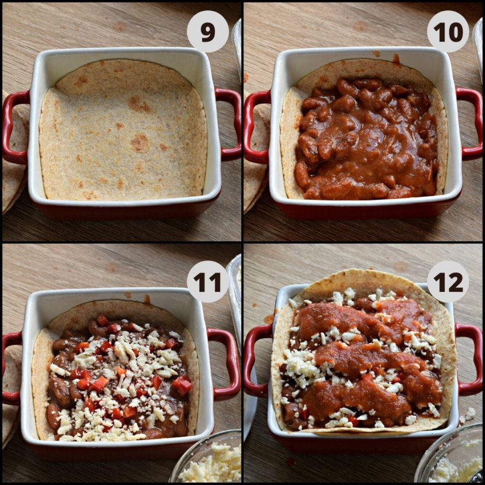 4 image collage showing how to assemble a Vegan Enchilada With Beans