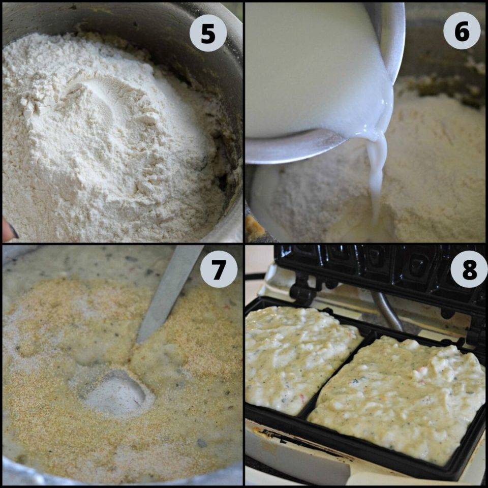 4 image collage showing how to make Mashed Potato Hummus Waffles