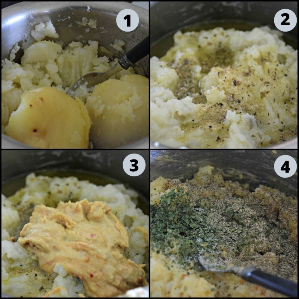 4 image collage showing the steps to make Mashed Potato Hummus Waffles batter