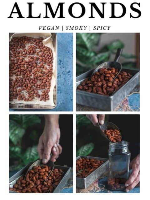 4 image collage of Smoky Spicy Garlic Roasted Almonds with text at the top and bottom