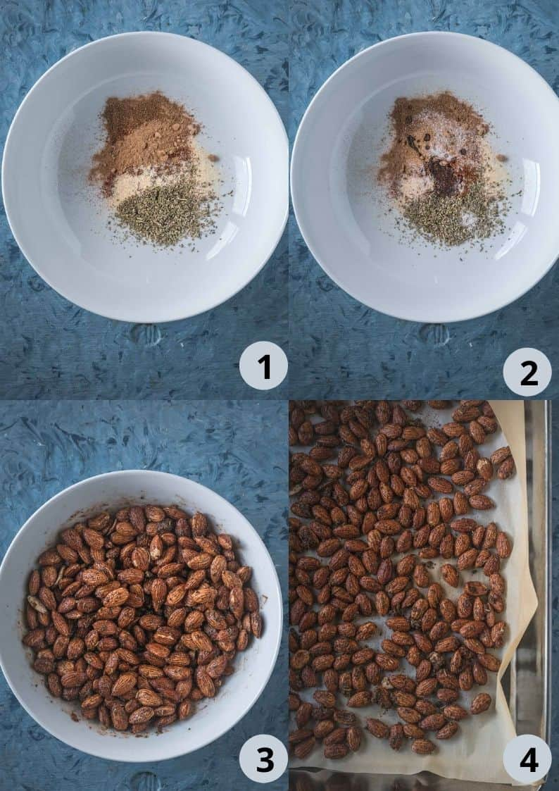 4 image collage showing the steps to make Smoky Spicy Garlic Roasted Almonds