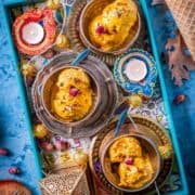 3 bowls of Carrot Halwa Ice Cream served in a tray