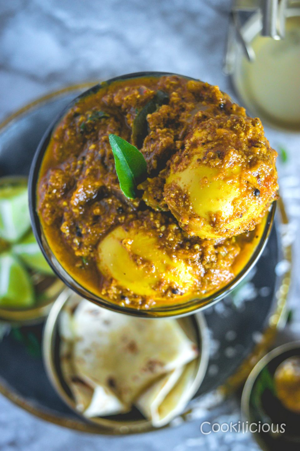 top view close up shot of Spicy Chettinad Style Egg Roast Curry