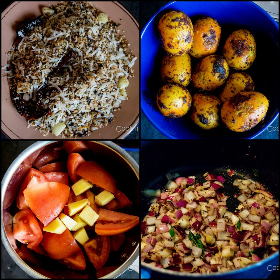 4 images showing the process to make Spicy Chettinad Style Egg Roast Curry