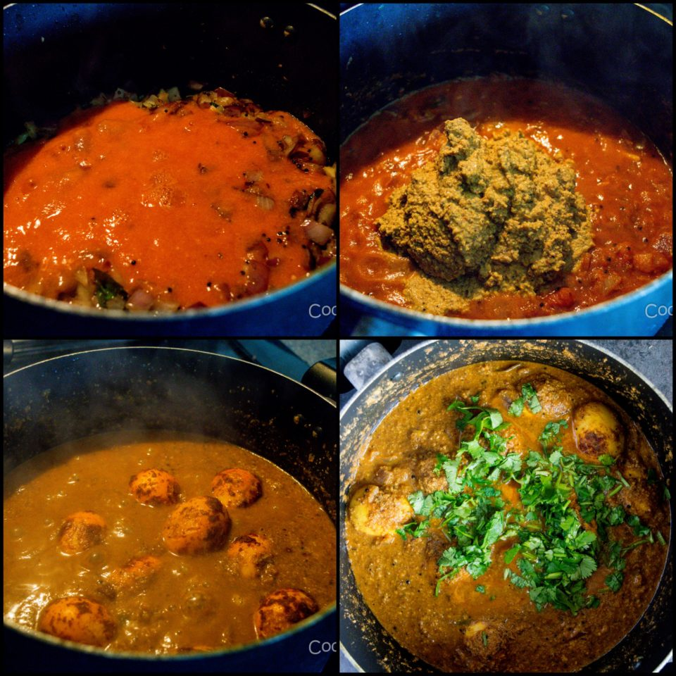 4 steps showing how to make Spicy Chettinad Style Egg Roast Curry