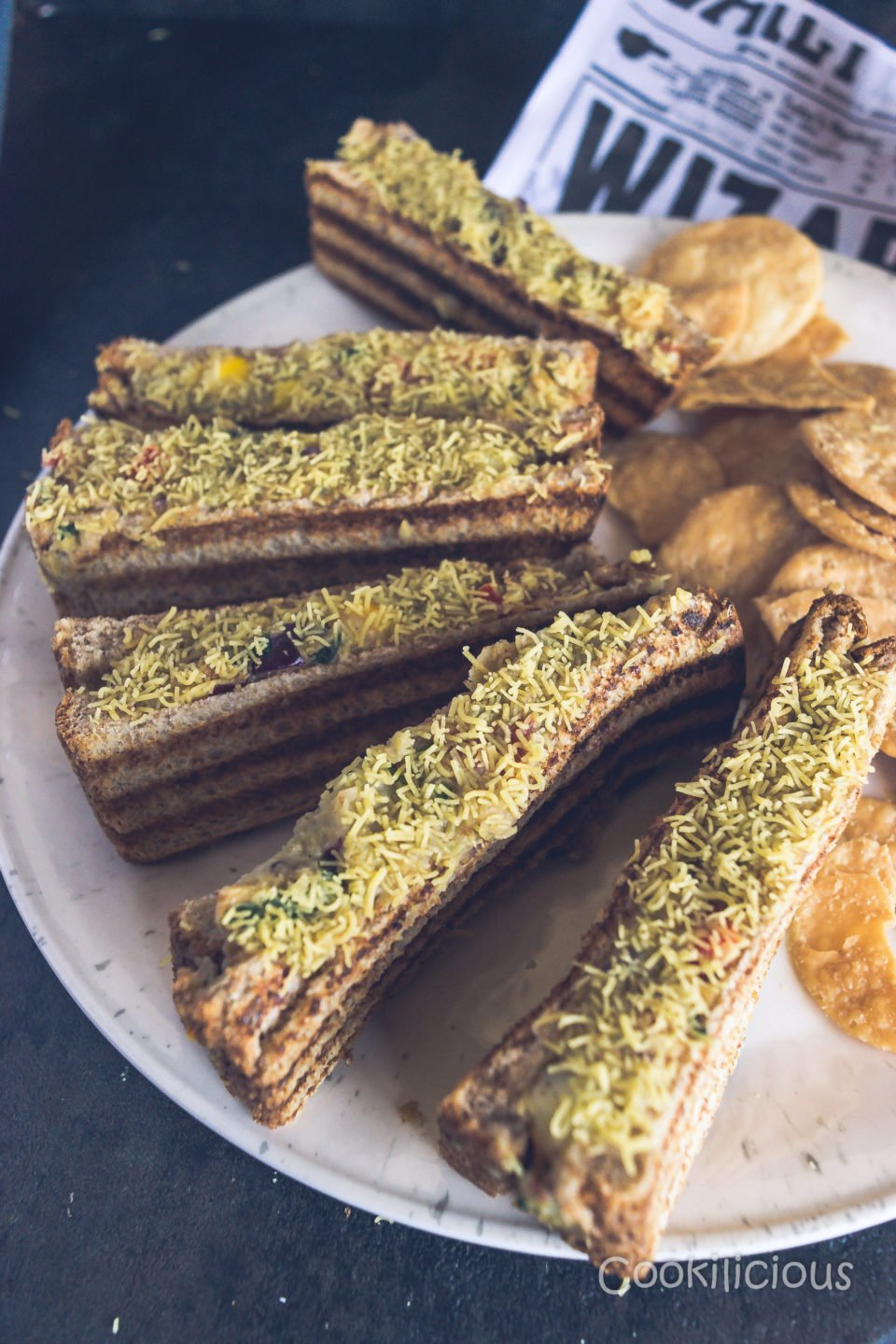 close up image of Sev Puri Grill Sandwich