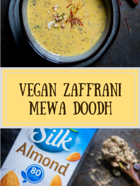 2 images of Vegan Zaffrani Mewa Doodh with text in the middle