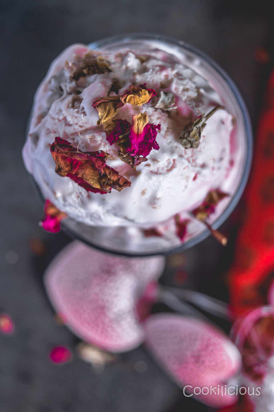 top shot of No-Churn Rose Gulkand Ice Cream with a blurry background