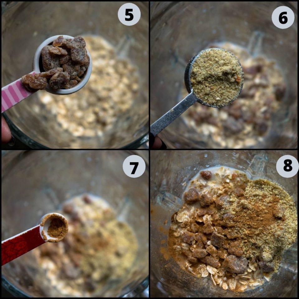 4 image collage showing the steps to make Vegan Blueberry Pancake Almond Milk Smoothie