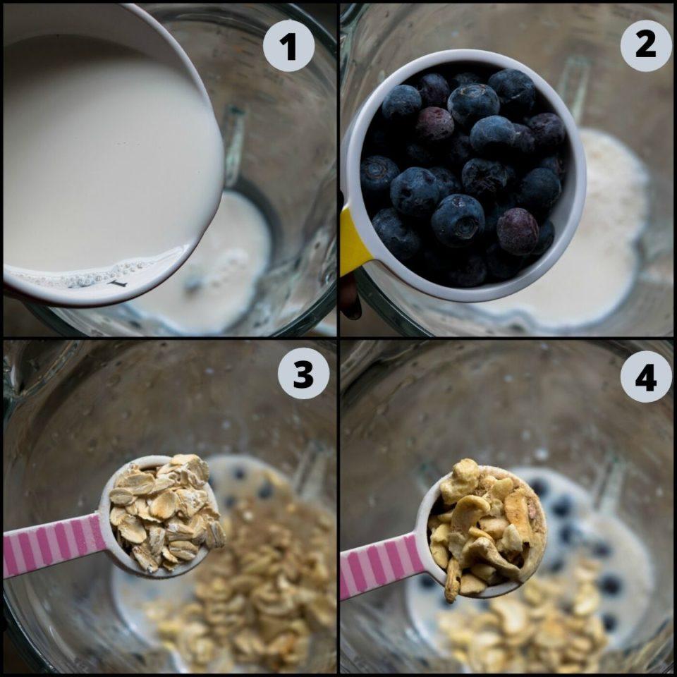 4 image collage showing how to make Vegan Blueberry Pancake Almond Milk Smoothie