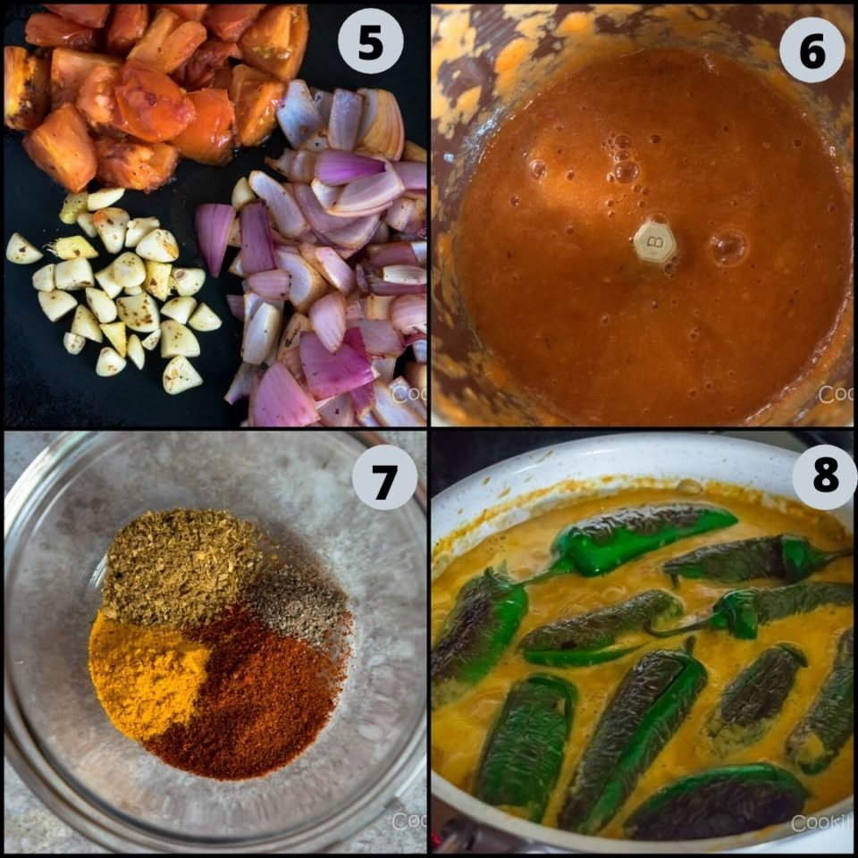 4 steps to show how to make Mirchi Ka Salaan | Curried Chilly Peppers