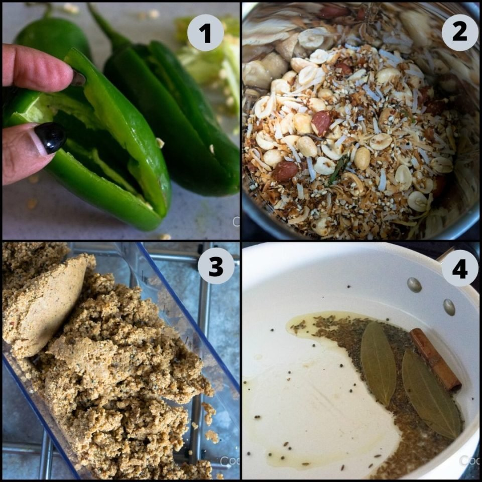 4 images showing the process to make Mirchi Ka Salaan | Curried Chilly Peppers