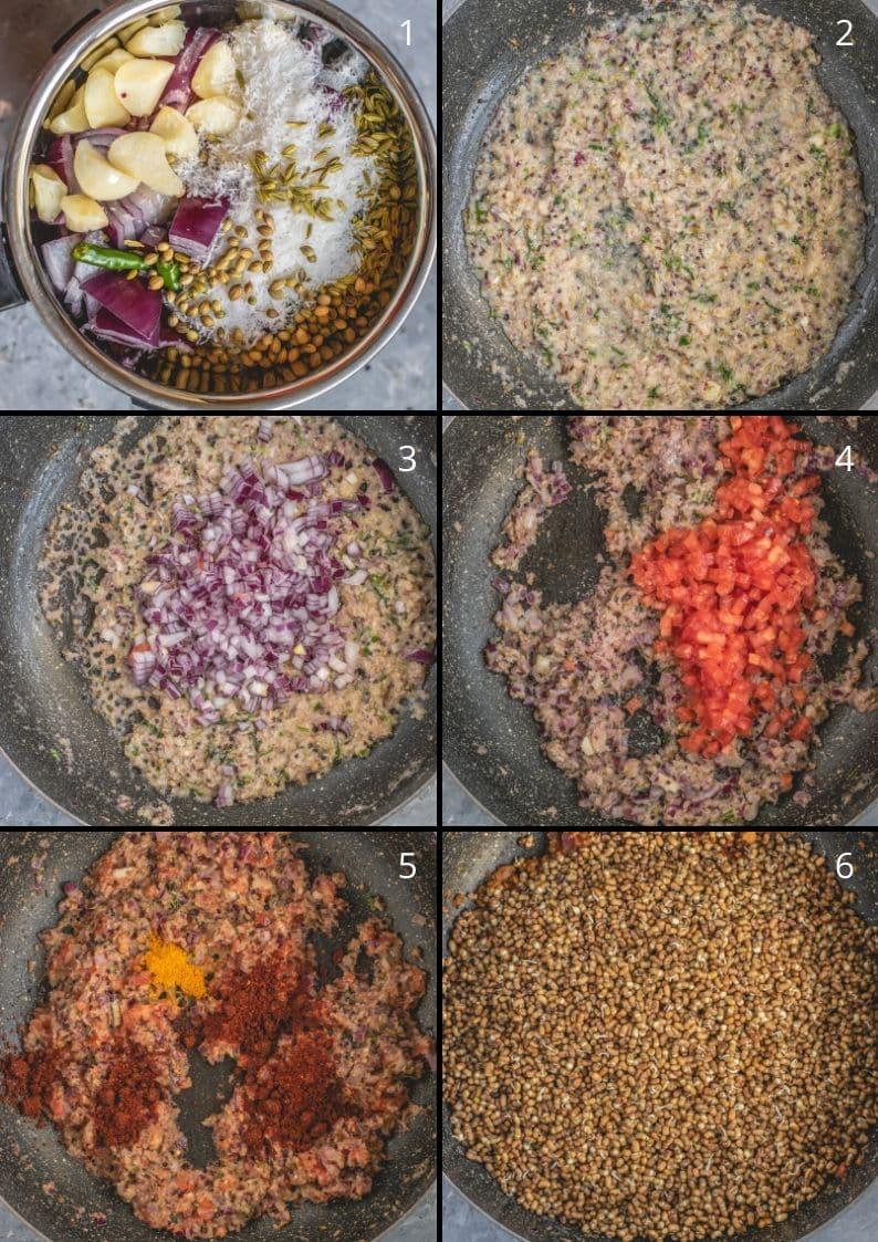 6 image collage showing the steps to make Vegan Matki Usal