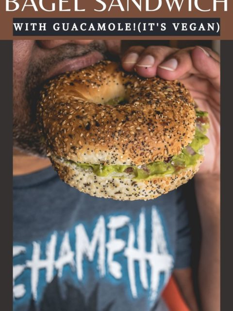 a man eating Breakfast Bagel Sandwich With Guacamole and text at the top