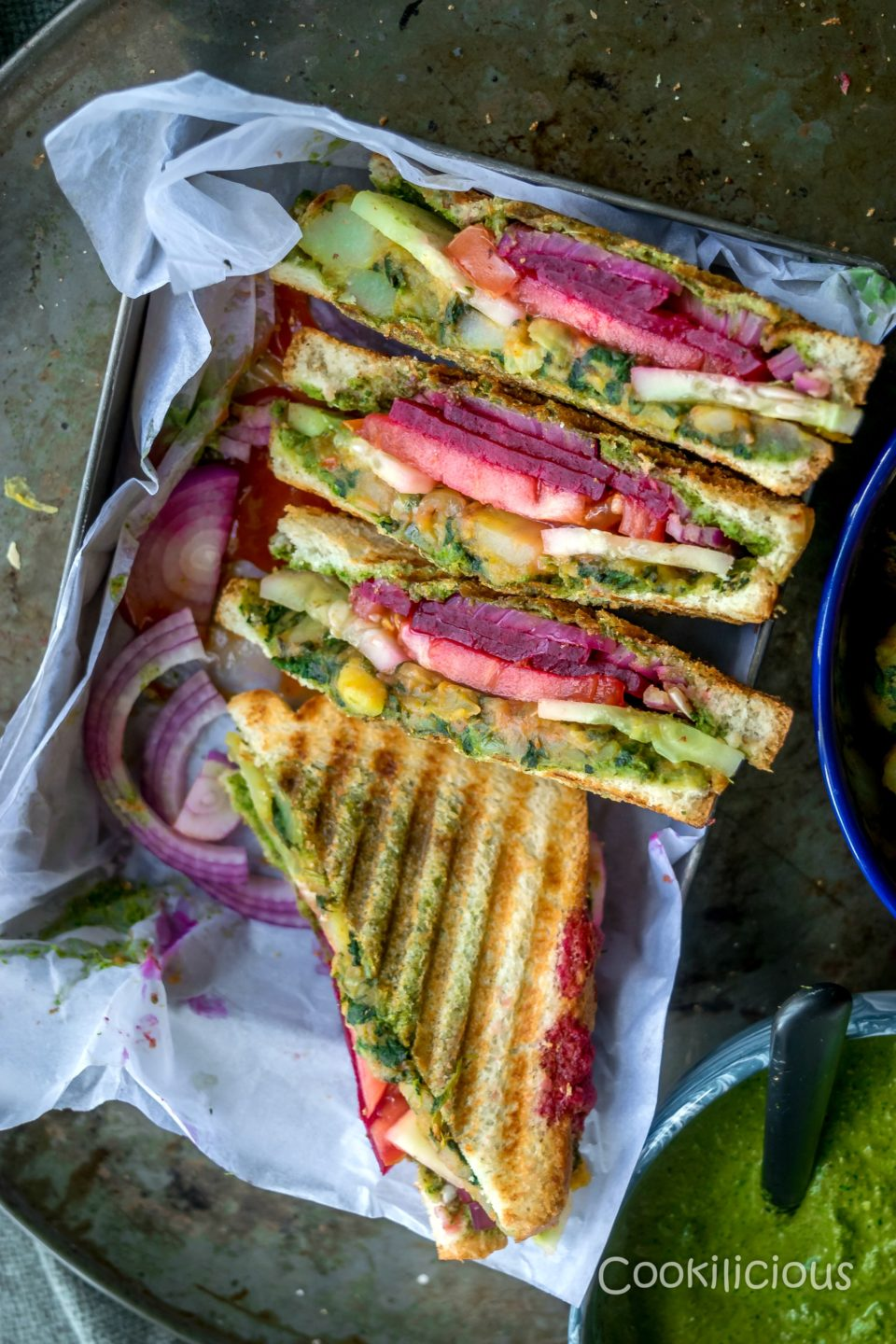 Grilled Vegetable Bombay Sandwich Cookilicious