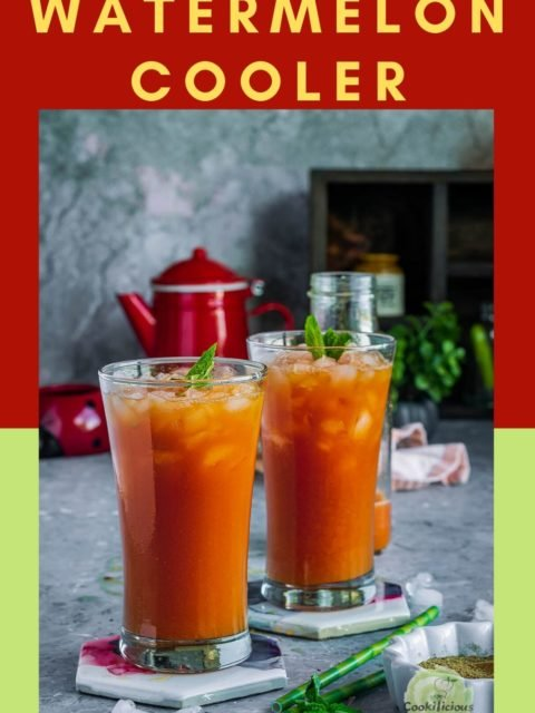 2 glasses of Watermelon Cooler - Sugar Free Drink placed over coasters and garnished with mint leaves and text at the top