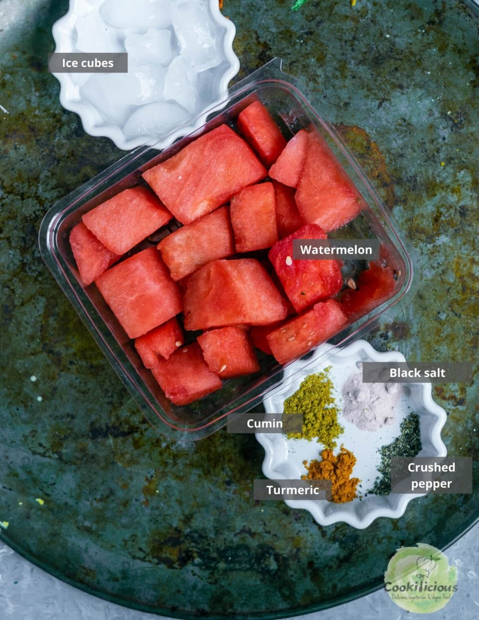 all the ingredients needed to make watermelon juice recipe - Sugar Free Drink placed in a tray