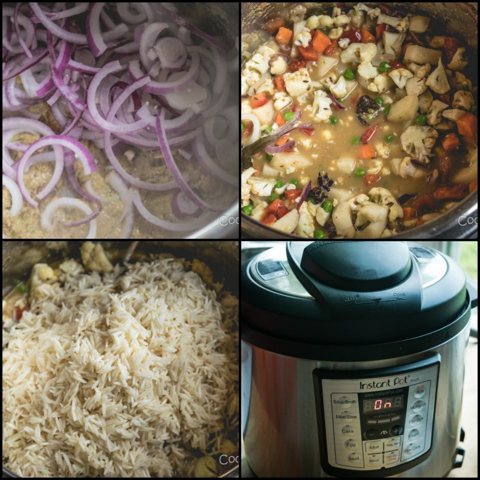 4 images showing the way to make Vegetable Pulao in Instant Pot