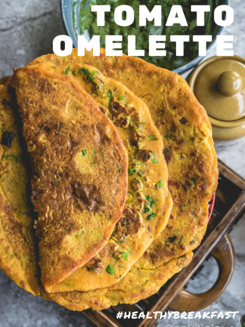 1 image of tomato omelette with text on top