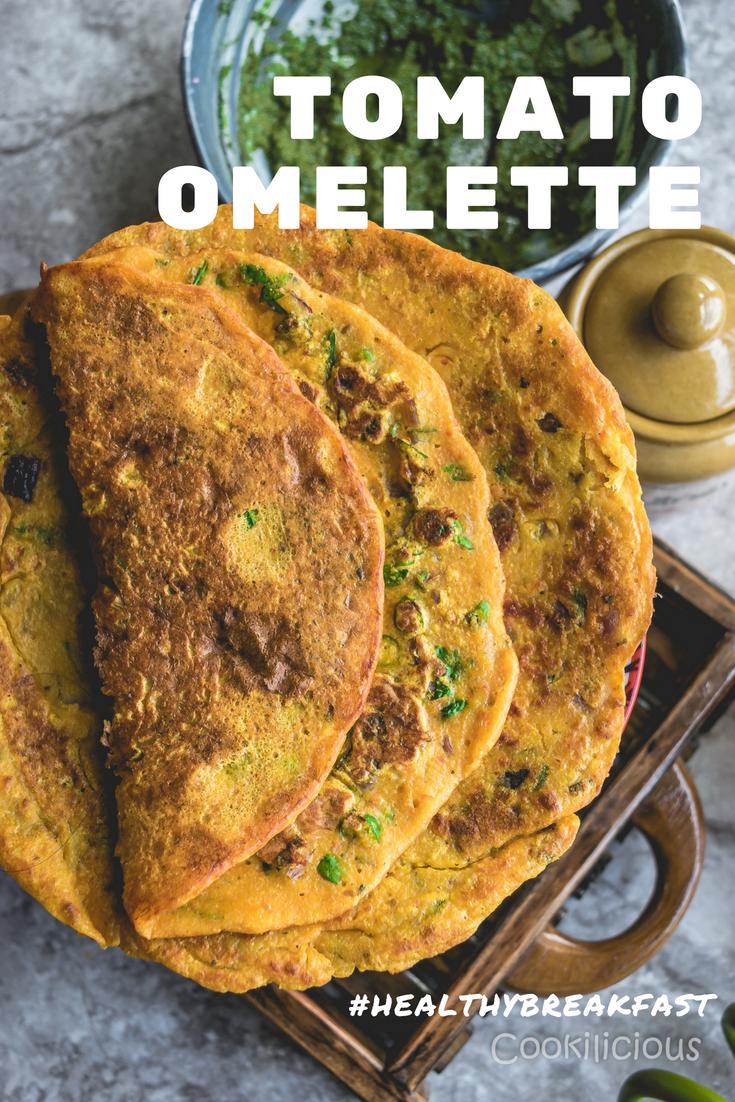 Instant Eggless Tomato Omelette RecipeAppetizers & Snacks Power Breakfasts
