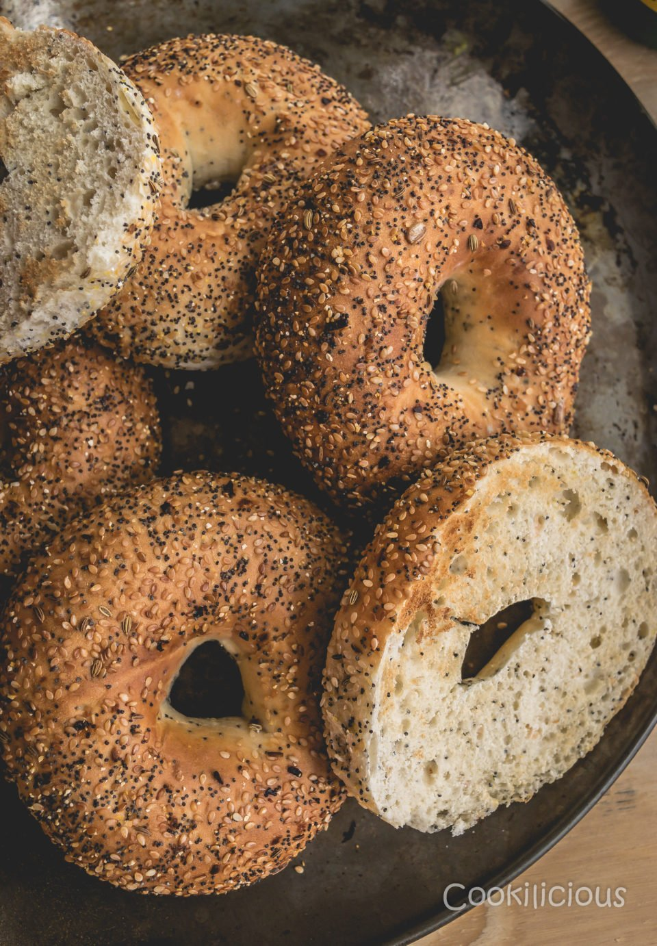 a tray of toasted bagels needed to make Breakfast Bagel Sandwich With Guacamole