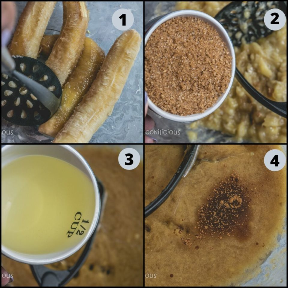 4 image collage showing how to make Vegan Banana Strawberry Bread