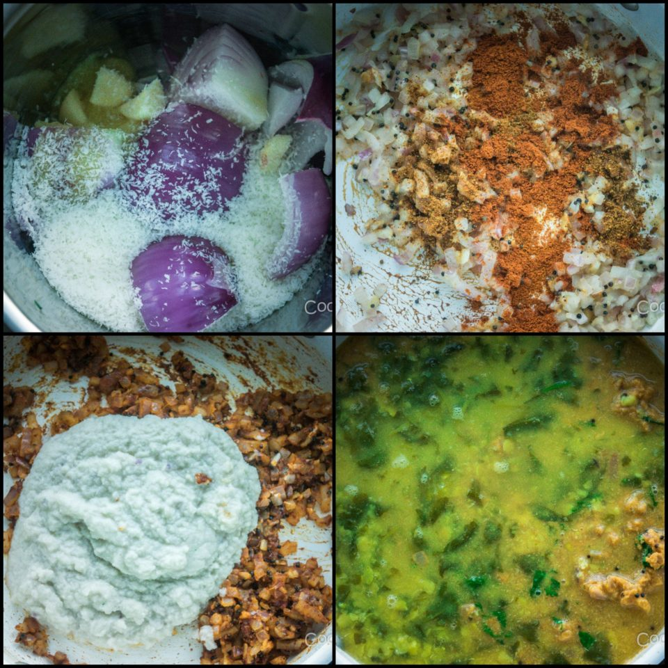 4 images showing the process to make Malvani Style Tikhat Dal