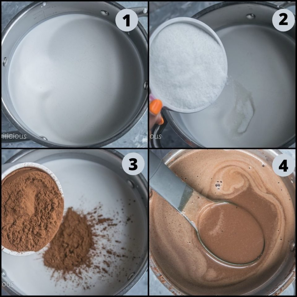 4 image collage showing how to make Dairy Free Chocolate Coconut Ice Cream