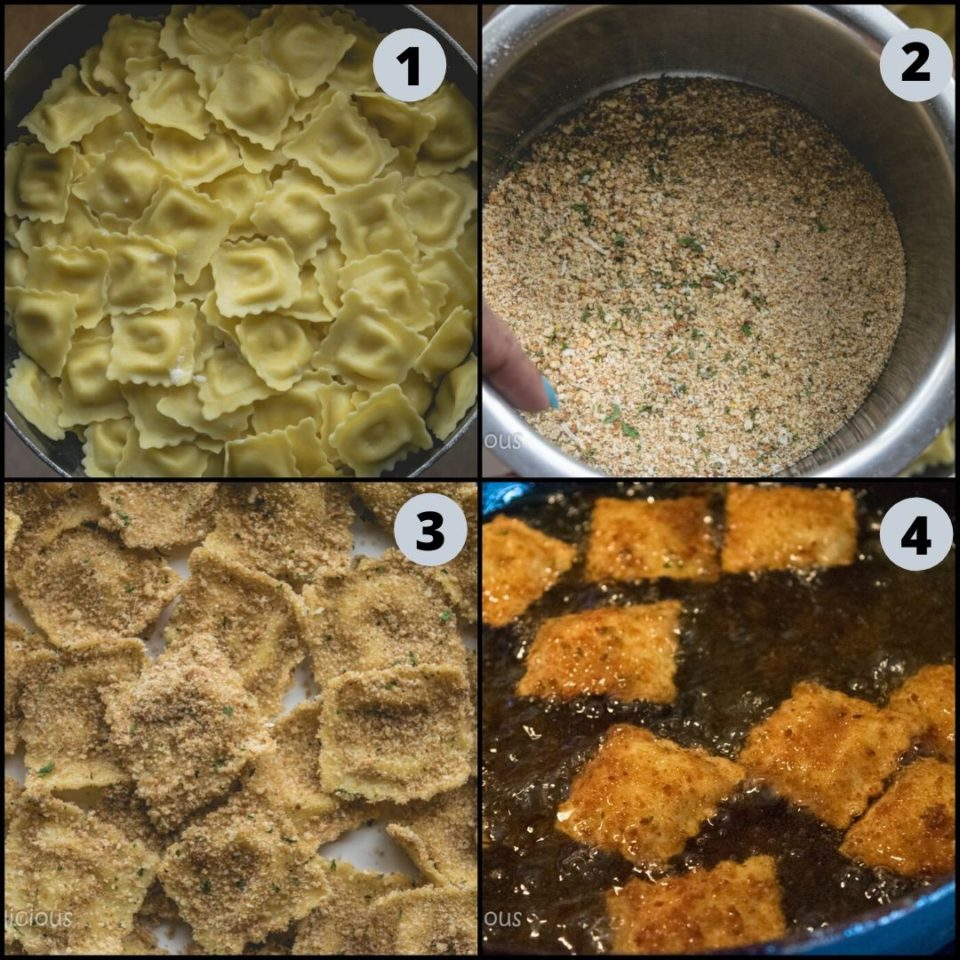 4 images showing the steps to make Copycat Olive Garden Cheesy Fried Ravioli - vegan appetizer recipes