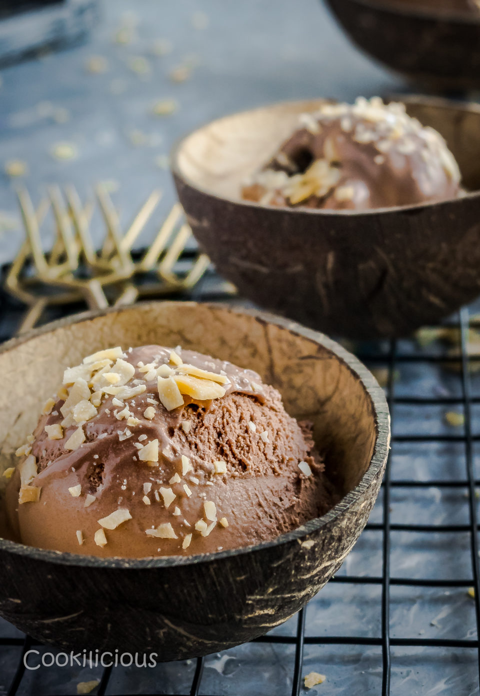 Coconut Chocolate Dairy-Free Ice Cream in two coconut bowls