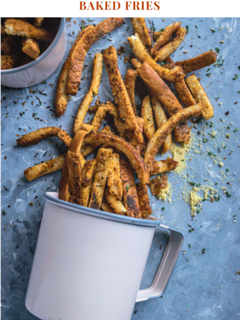 a mug with Crispy Bread Crust Parmesan Baked Fries fallen down