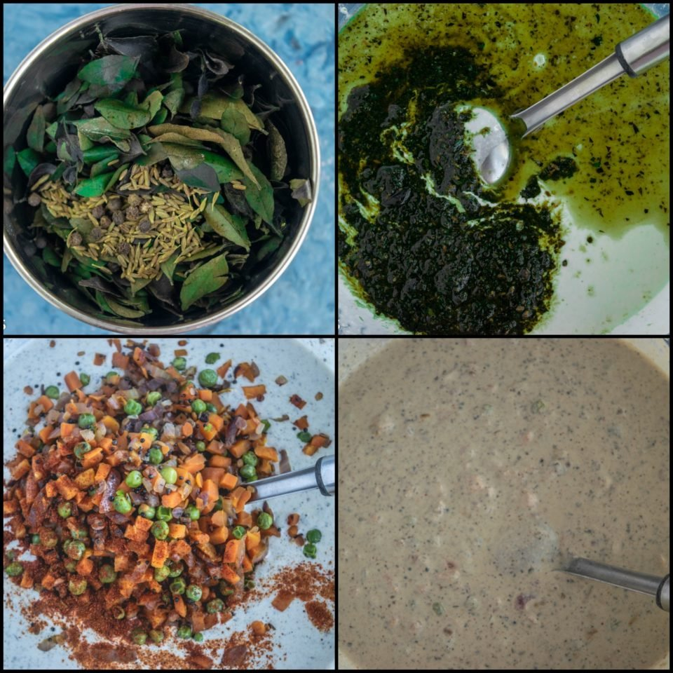 4 image collage showing the steps to make Curry Leaves Veg Cheese Paniyaram