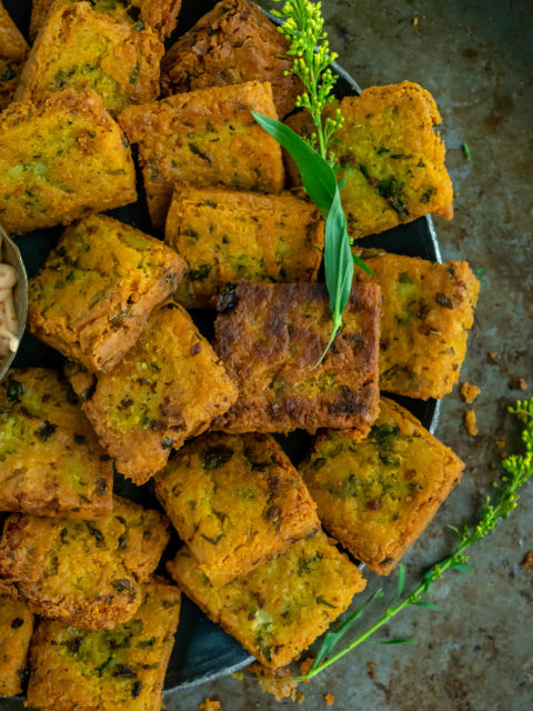 Fried Besan (Chickpea Flour) & Potato Squares RecipeAppetizers & Snacks