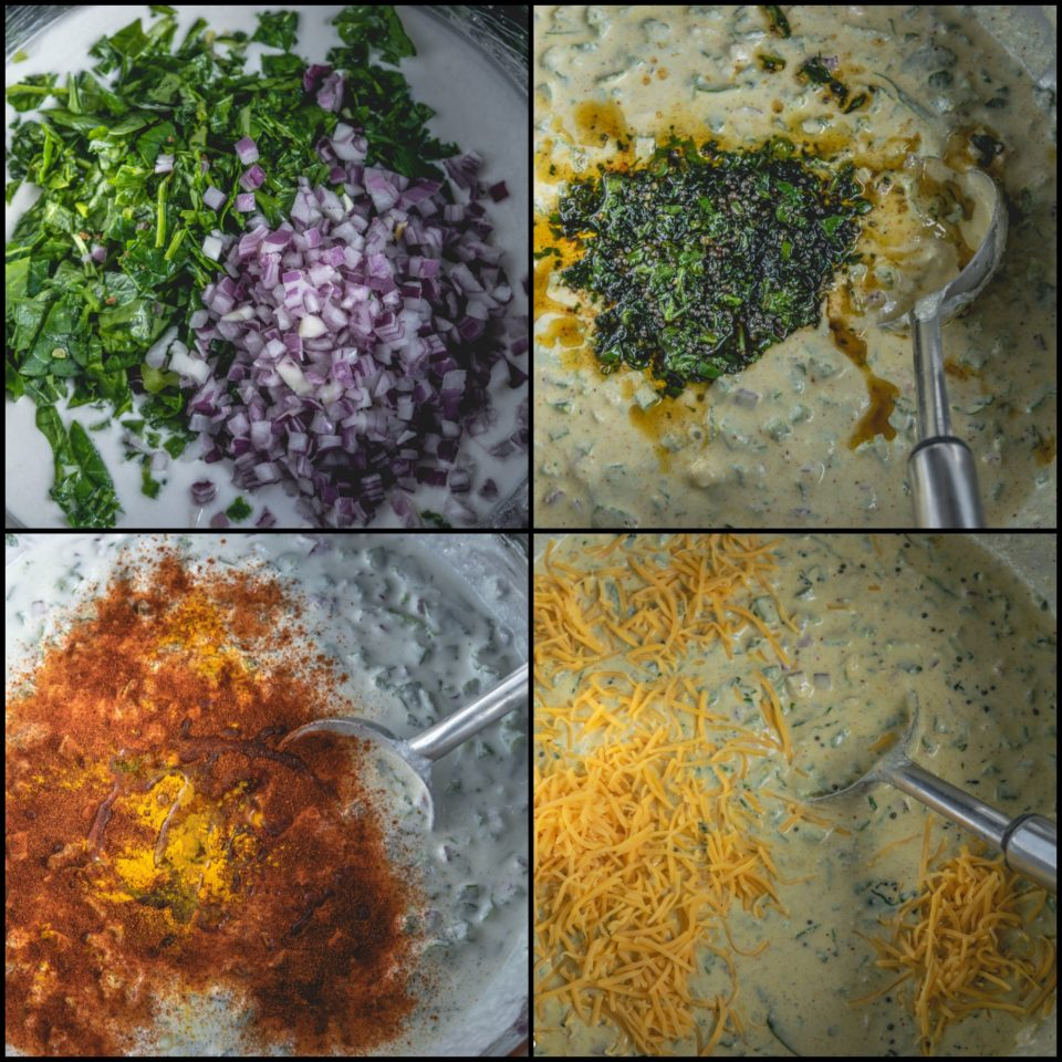 4 image collage showing the steps to make Mini Masala Uttapam