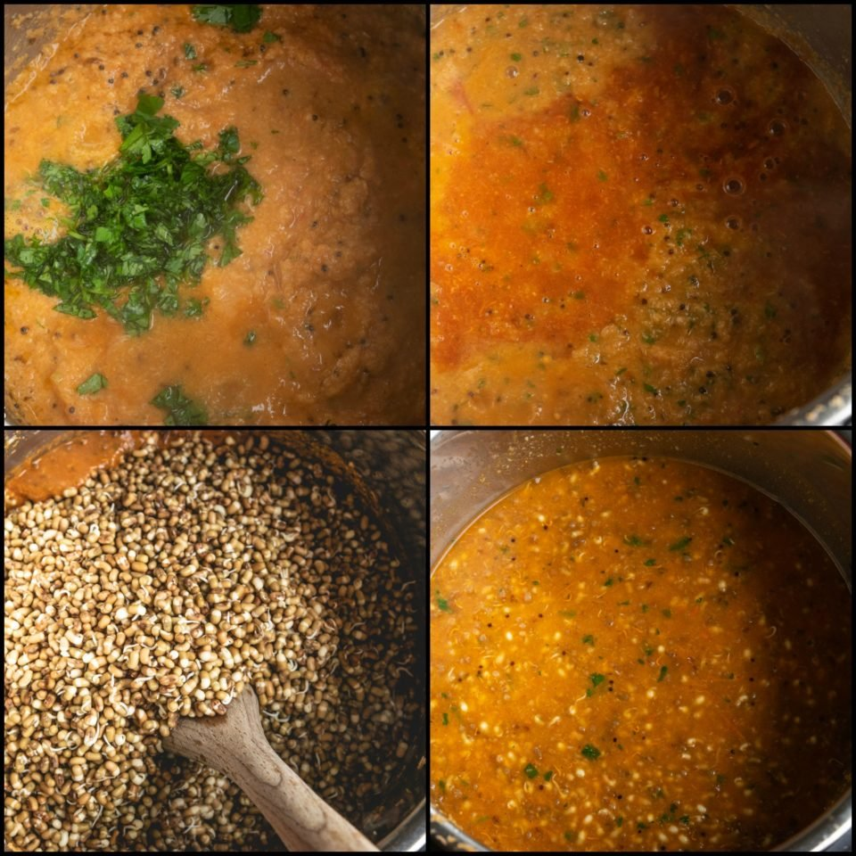 4 image collage showing the steps to make Vegan Matki Misal in an Instant Pot