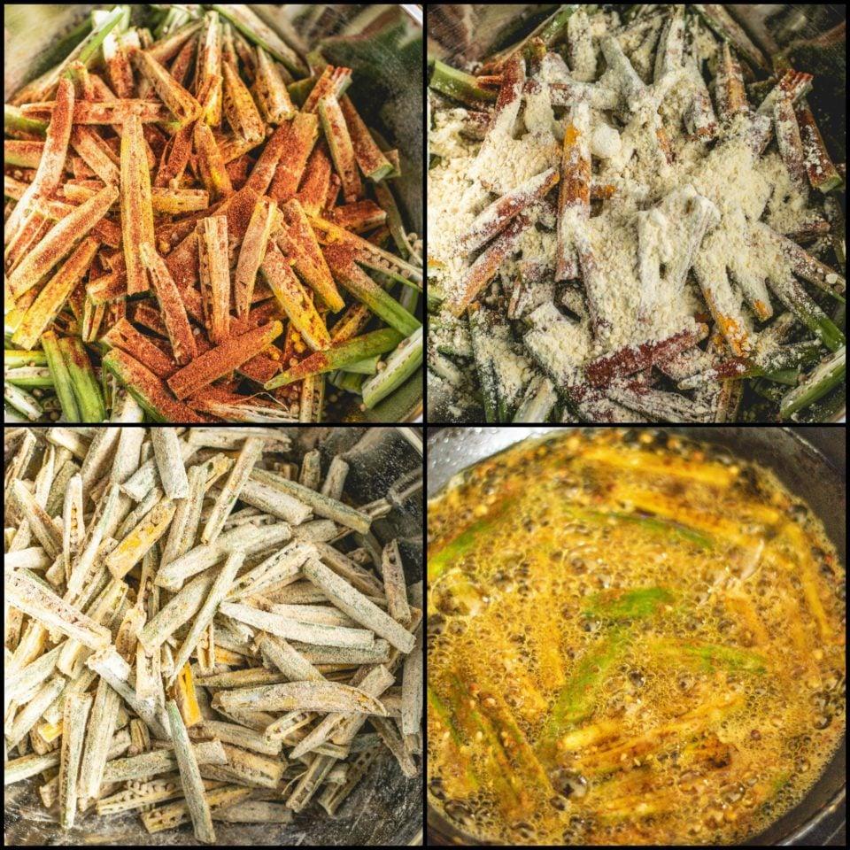 4 images showing the steps to make Kurkuri Masala Bhindi