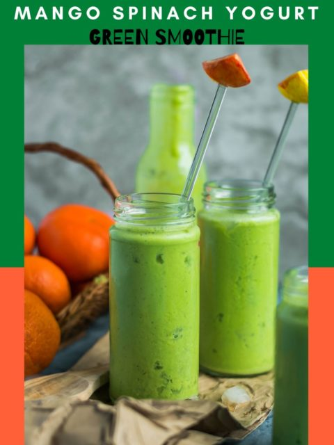 2 glasses of Super Healthy Mango Spinach Yogurt Power Smoothie with a stirrer in each and text at the top