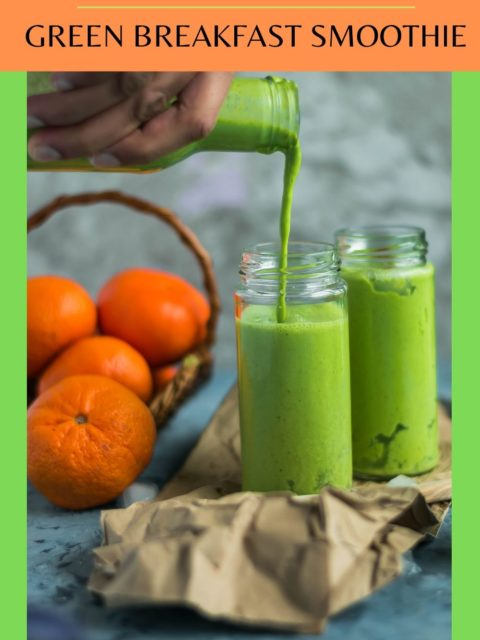 a hand holding a bottle and pouring Super Healthy Mango Spinach Yogurt Power Smoothie into a glass & text at the top and bottom