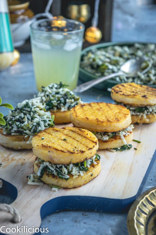 3 Polenta & Cilantro Savory Bites (vegan gluten free recipes) lined up