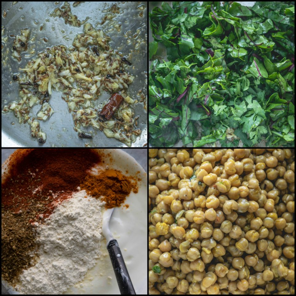 4 image collage showing the steps to make Himachali Chana Madra