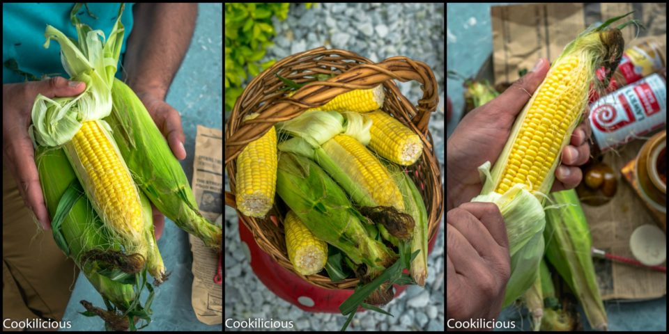 3 image collage of corn on the cob used to make Indian Street Style Corn On The Cob